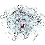 Llavero portafotos (100 Piezas) - Llaveros Personalizados con Foto Acrílico Transparente 4,5 x 3,5...