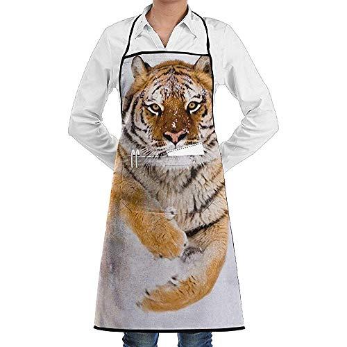 Tiger Schnee Kostüm - UQ Galaxy Latzschürze,Amur Tiger Im Schnee Schürze Spitze Adult Chef Einstellbare Lange Vollschwarz Kochen Küchenschürzen Lätzchen Mit Taschen zum Backen Crafting BBQ