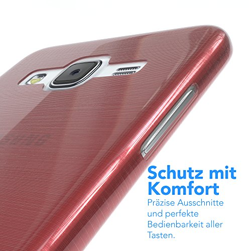 Samsung Galaxy J5 (altes Modell) Hülle - EAZY CASE Ultra Slim Cover Handyhülle - dünne Schutzhülle aus Silikon in Transparent Brushed Rosa