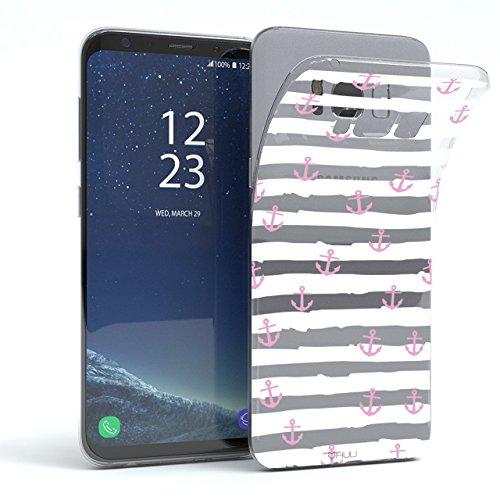 HULI Design Case Hülle für Samsung Galaxy S8 Plus Handy im rosa Anker Design - Handyhülle aus TPU Silikon - Schutzhülle klar im maritim Muster Kreuzfahrt Anchor - Transparent für Dein Smartphone