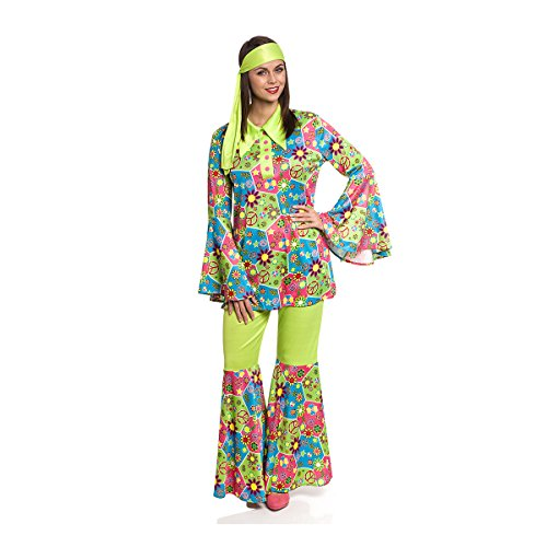 Damen Hippie Sexy Kostüm - Kostümplanet® Hippie-Kostüm Damen sexy 60er 70er Motto Flower Power Fasching (36/38)