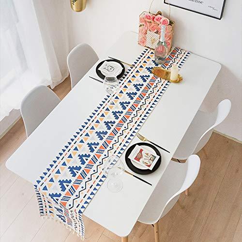 DÉCOCO Boho Tischläufer Navy Aztec Streifen Dreiecke Baumwolle Satin Tischläufer 12,5 x 75 Zoll Böhmen Retro Urlaub Dekorationen Party Bankett Geschenk Deckchen