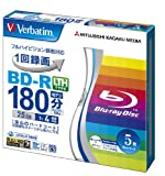 Verbatim Mitsubishi 25GB 4X Speed BD-R Blu-ray LTH Type Recordable Disk 5 Pack - Ink-Jet Printable - Each Disk in a Jewel case