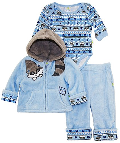 duck-goose-baby-boys-cute-raccoon-sherpa-jacket-bodysuit-3pc-pant-set-blue-3-6-months