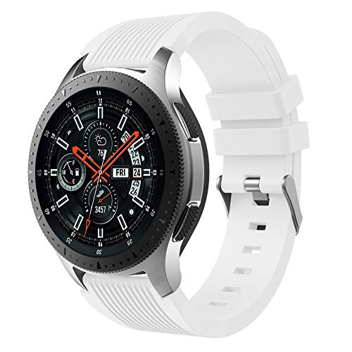 XingWangFa for Samsung Galaxy Watch (46mm) Straps Armbands 22mm Soft Silicone Sport Armband Replacement Strap for Samsung Galaxy Watch (46mm) SmartWatch-White
