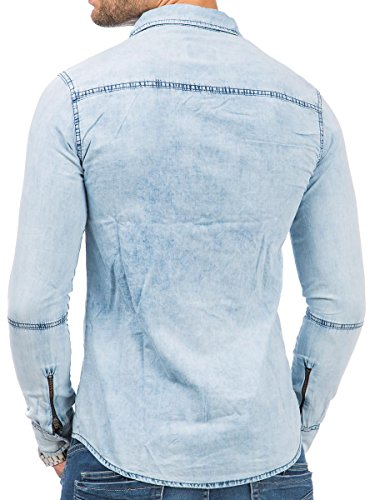Tazzio Herren Jeans Hemd Jeanshemd Langarm Shirt Blau - 16-313