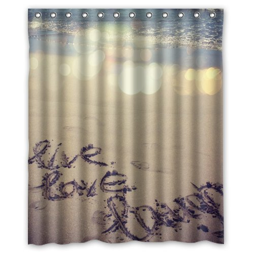 JHDHVRFR Inspirational Quote Beach Live Laugh Love Shower Curtain 60 X 72 Inch Bathroom