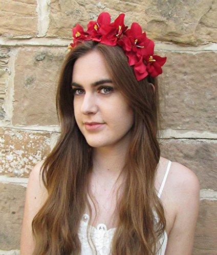 Orchidée rouge cheveux Serre Tête Fleur Couronne Bandeau festival Motif floral Style Bohémien Vintage Z98 * * * * * * * * exclusivement vendu par – Beauté * * * * * * * *