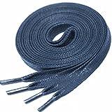 LACCICO Finest Waxed Laces® 6 mm breite flache gewachste Schnürsenkel; Farbe: Dunkelblau , Länge: 120 cm