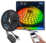 MINGER DreamColor LED Streifen mit eingebautem IC, 2m RGB USB LED Strips Sync mit Musik, wasserdichte LED Kette mit APP, 300 LEDs SMD 5050 flexibler LED Schlauch LED Stripes für Deko Party Weihnachten