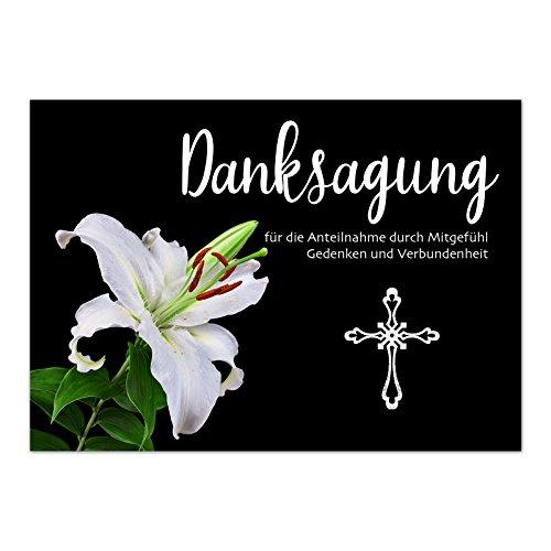 15 x Trauerkarten Danksagung mit 15 Umschlägen im Set - Danke nach Trauer, Beerdigung, Sterbefall, Friedhof, Begräbnis