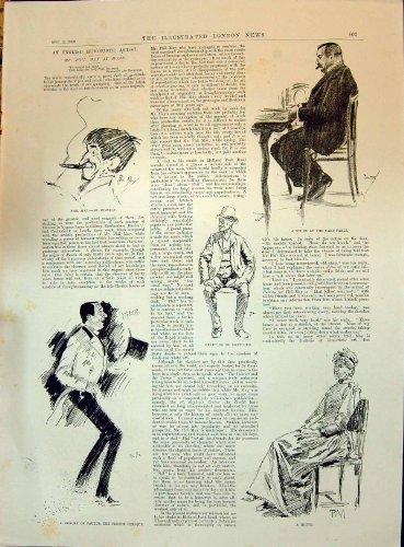 1896 Antike Karte (Englische Humoristic Künstler 1896 Karte-Tisch Baumuster-Dame Paulus French Comique Music)