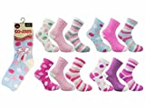 12 Pairs Ladies/Womens Bed Socks, Assorted Colours Soft & Cosy Bed Socks, Slippers Socks (Style:Bed-Socks)