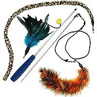 Aidle pet plumas varita gato juguete ejercitador para gato y gatito - gato juguete Interactivo gato varita
