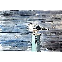 Pintura a la acuarela. Gaviota. Pintado a mano. Obra única. Acuarela sobre papel. 19 x 28 cm. Cuadro contemporáneo. Paisaje marino. Cuadro de aves. Tonos azules