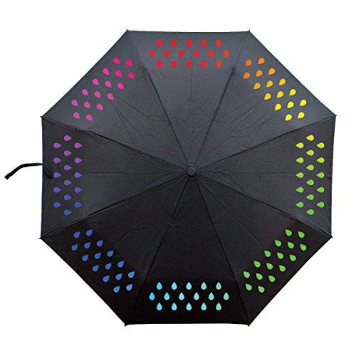 BUKUANG Windundurchlässiges Fiberglas Regenschirm ändern Farbe Mit Wasser Regenschirm Reise Mit Auto öffnen Und Schließen Bewegliches Und Leicht Für Bequemen Transport Qualitäts-Compact 8 Rippen Schwarz,Raindrops