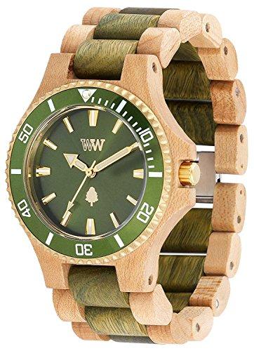 WeWood Herren-Holzarmbanduhr Date MB Beige Army Green WW57005