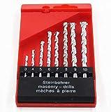 """KFZ8Pcs Juego de brocas para mampostería, se utiliza para hormigón, ladrillo, azulejo, YQRH-01 1/8"""" a 3/8"""" (3 4 5 6 7 8 9 10 mm) vástago redondo chapado en níquel"""