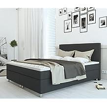 SAM® Cama boxspring Carmen 180x200 cm, tela gris antracita, base con resortes Nosag, colchón con muelles Bonnell, fermeza H3, topper de 4 cm