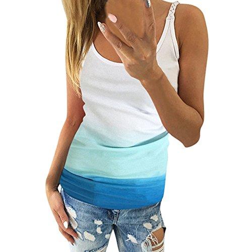 NPRADLA 2019 Beiläufiges Farbverlaufs ärmelloses Weste Hemd Trägershirt Blusen Tunika Damen(Blau-3,S)