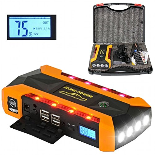 Car Jump Starter,EletecPro 14400mAh 600A Peak with LED Emergency lights,External Battery Charger Auto Booster Jumper for Vehicles,Portable Power Bank with Flashlight and 4 USB Ports f