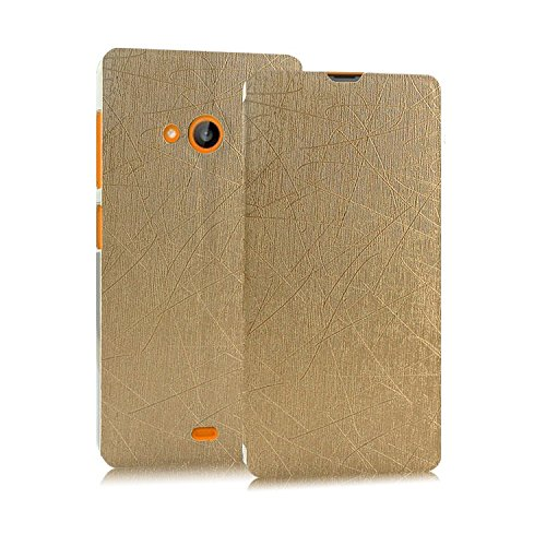 Heartly Premium Luxury PU Leather Flip Stand Back Case Cover For Microsoft Nokia Lumia 535 Dual Sim – Hot Gold
