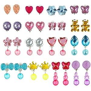 Aneco 16 Pairs Crystal Clip auf Ohrringe Mädchen Spielen Ohrringe Prinzessin Schmuck Ohrring Dress up Zubehör Party gefallen verpackt in 1 klare herzförmige Box (Set C)