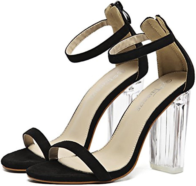 6c6d8c34a8a Popoye Women s Block Chunky High Heel Open Open Open Toe Sandal Adjustable  Buckle Ankle Strap Shoes