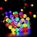 lederTEK Guirnalda de Luz de Navidad con Energía Solar (7m 50LED) para Árbol de Navidad, Patio, Jardín, Terraza y Todas las Decoraciones con Diseño de Bolas G14 de Colores