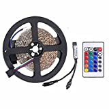 WenTop Led Strip Lights,Non-waterproof Led Strip,SMD 3528 16.4 Ft(5M) 300 Leds ,RGB Led Light Strip,with 24 Key IR Remote Controller,for TV Backlight- Not Contain the Power Supply