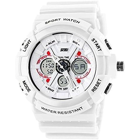 So Ver Hombres y Mujeres Reloj Deportivo Analógico/Digital Dual tiempo LED de alarma multifunción reloj de pulsera Blanco, color blanco