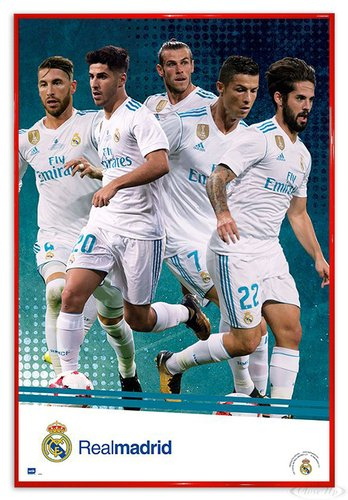 Close Up Real Madrid Poster Mannschaft Saison 2017/18 (94x63,5 cm) gerahmt in: Rahmen rot
