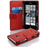 Cadorabo - Book Style Hülle für Nokia Lumia 720 - Case Cover Schutzhülle Etui Tasche mit Kartenfach in INFERNO-ROT