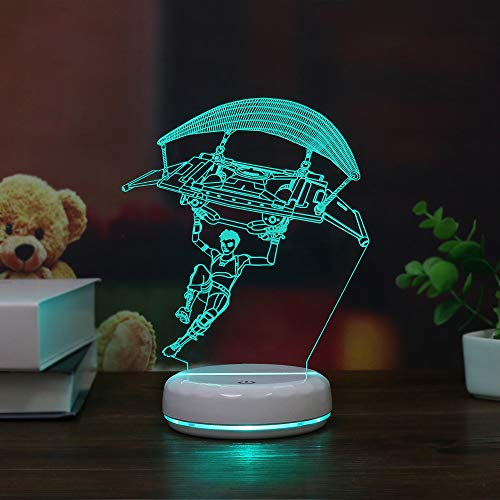 Base Porzellan Lampe (Porzellan White Base Segelflugzeug 3d Lampe Led Acryl Vision Stereo Kann Mit Fernbedienung Farbenfroher Touch (USB-Netzteil mit Fernbedienung))