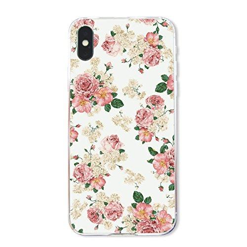finoo | Iphone X Hard Case Handy-Hülle mit Motiv | dünne stoßfeste Schutz-Cover Tasche in Premium Qualität | Premium Case für Dein Smartphone| Kaugummi Pink Rosen