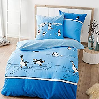 kaeppel biber bettw sche pinguine blau 135x200 cm 80x80 cm k che haushalt. Black Bedroom Furniture Sets. Home Design Ideas