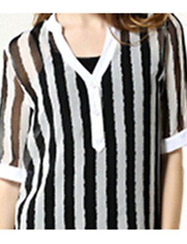 LYQ/ Robe Aux femmes Grandes Tailles Grandes Tailles / Vintage / Décontracté , Rayé Col en V Au dessus du genou Mousseline de soie black-l