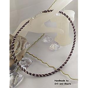 Halskette in schwarz-dunkellila-silber - Unikat