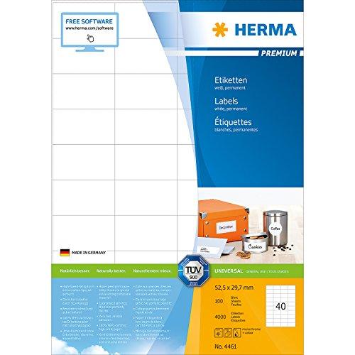Preisvergleich Produktbild Herma 4461 Universal-Etiketten (Premium A4 Papier matt, 52,5 x 29,7 mm) 4000 Stück weiß