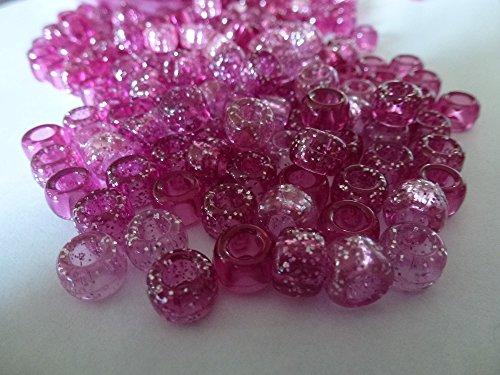 100x Pony Perlen 9mm x 6mm Light & Dark Pink Transparent Glitzer Mix–Armbänder Flechten Clips Haar Farbe Acryl Kunststoff, fassförmig, rund–Perlen und Charms