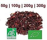[100% BIO - ORIGINE : SÉNÉGAL] [100g / 200g / 300g] Fleurs Séchées d'Hibiscus Bio certifié Écocert - Bissap, Karkadé - Plusieurs conditionnements (200g)