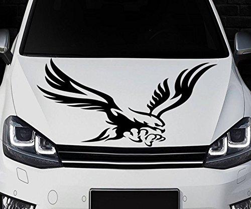 Adler Flug Autotattoo Vogel Krallen Flügel Motorhaube Auto Aufkleber Heckscheibe Dekorstreifen Streifen Tuning 2N424, Farbe:Dunkelgrau Matt;Aufkleber Größe:29cmx50cm -