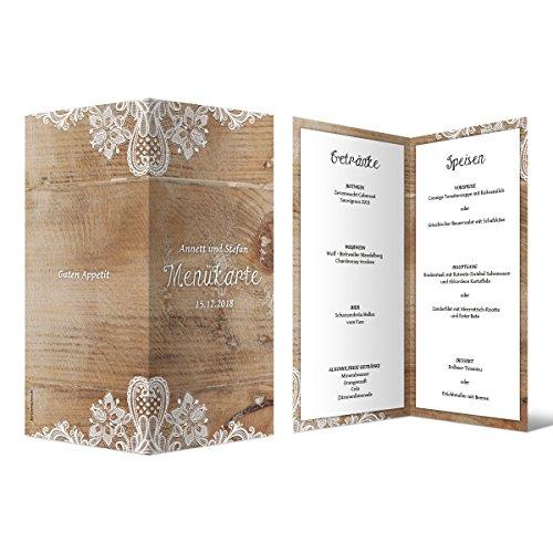 20 x Hochzeit Menükarten Menü Speisen Getränke - Rustikal mit weißer Spitze DIN Lang Klappkarte