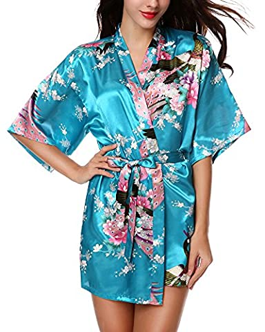 Avidlove Women's Robes Peacock and Blossoms Kimono Silk Nightwear Short
