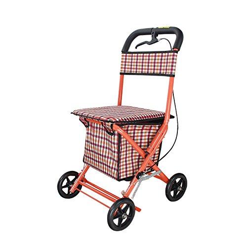 GTT Carro de la Compra Cuatro sillas de Ruedas Plegables Plegables Carrito de Paseo a pie Carrito de la Silla de Ruedas Walker Color de la Imagen