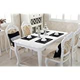 DI GRAZIA Sequined Polyester Luxury Dining Table Place Mats Set Of 2 (Black, 2 Placemats)