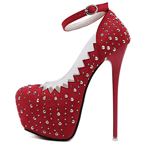 Oasap Women's Round Toe Platform Ankle Strap Stiletto Rivet Pumps red