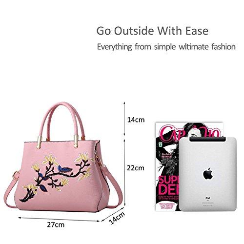 Ruiren Multifunktions gestickte weiche Tasche Portable Umhängetasche Frauen Messenger Bags Frauen Handtasche Schultertasche Rosa
