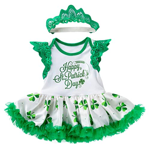 Dance Stirnbänder Kostüm Irish - A-Artist Baby Kleid Tutu Flying Sleeve Clover St. Patricks Day Irish National Day kasachischen Rock + Stirnband Für Geschenke