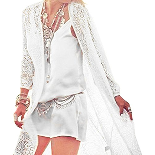 iBaste Bohemian Pizzo Lungo Cardigan Nappa Camicetta Bikini blanco